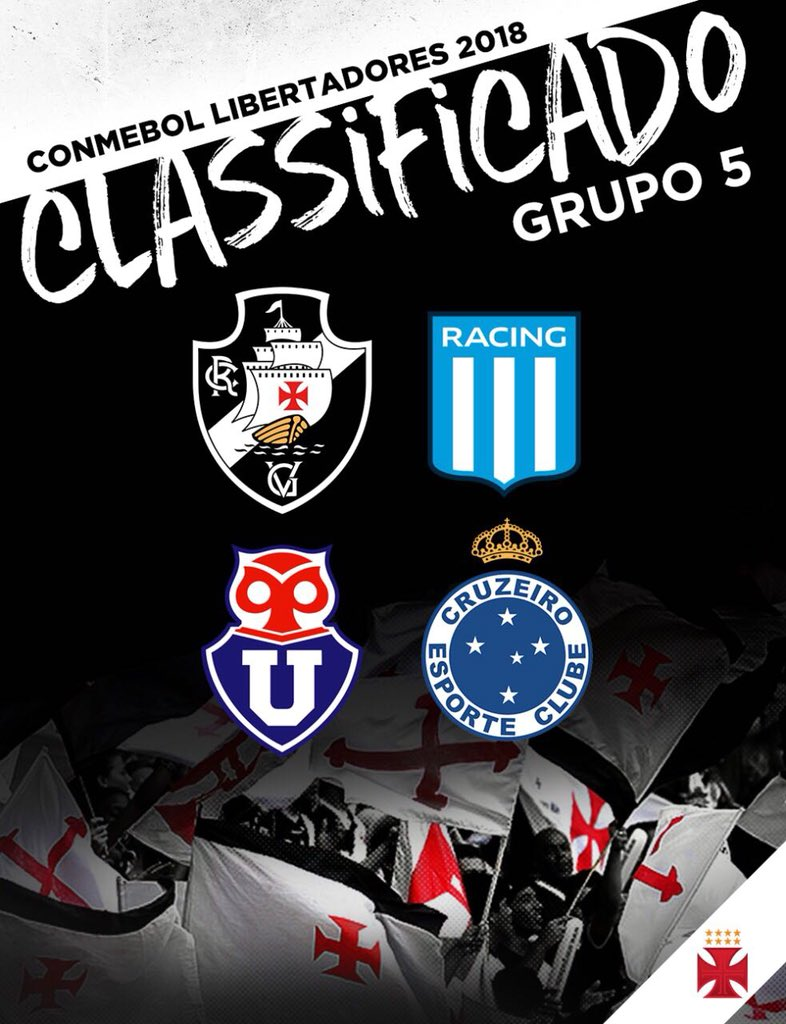 O Vasco está no grupo 5 da Libertadores! VASCO!!!!!!!!!!  #MissãoLiberta2018