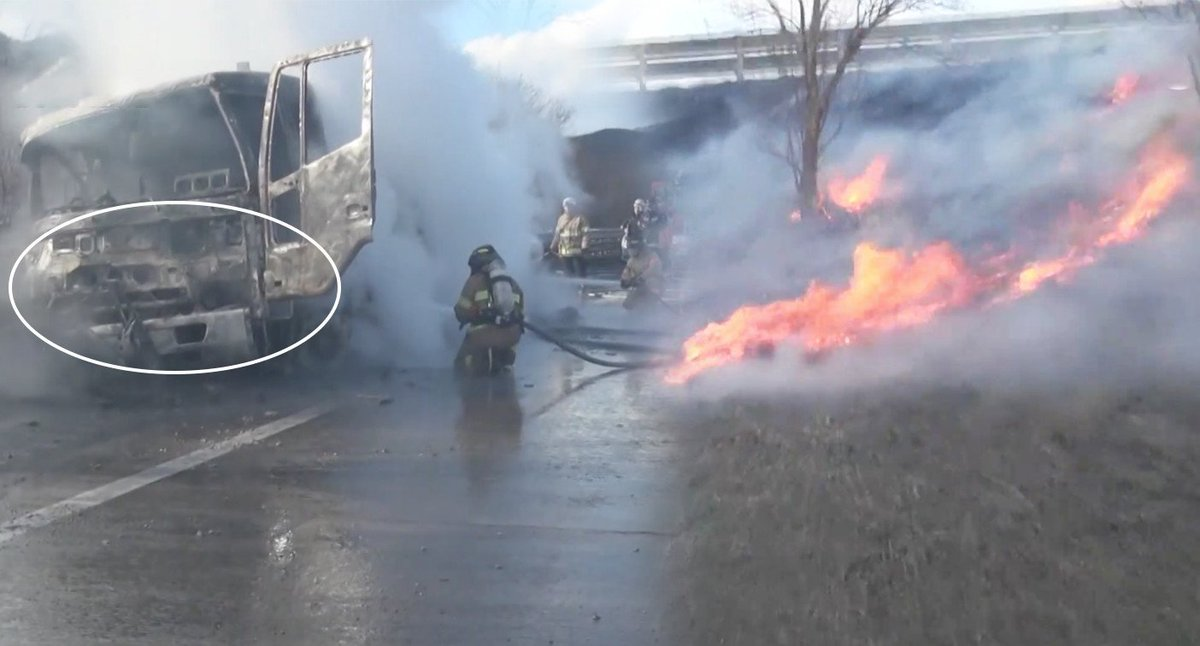 While stopping his truck along the road for a pee break, a man's stationary vehicle caused a massive fire on the highway.  #viu #MenInBlackBox https://t.co/IWkDgMItu5