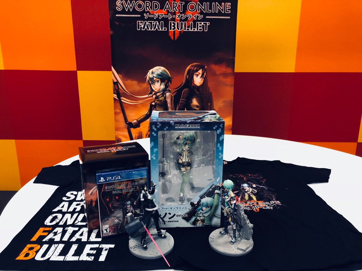 ONLY 1 hour until our Sword Art Online: Fatal Bullet livestream! Join us and @owTreyalP + @HendoArt as we Fulldive into the world of GGO! We'll have awesome prizes so make sure you stop by!    While you wait, enter our giveaway to win all these prizes! https://t.co/gJ3KAAH6cW