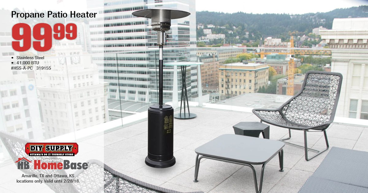 Sutherlands homebase on twitter it may be chilly out but you can from now until 22818 get a stainless steel propane patio heater for just 9999 available at our amarillo tx and ottawa ks locations solutioingenieria Images