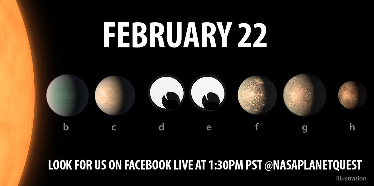 Tomorrow: Join us live on Facebook! We're celebrating the one-year anniversary of the seven Earth-size #TRAPPIST1 planets. Watch & you could get your ?s answered by the NASA artists who imagined them. https://t.co/3xW42hZok2