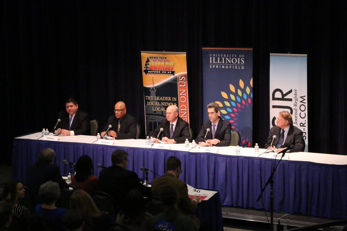 Happening Now: #UISedu is hosting a debate featuring Democratic candidates running in the primary race for Illinois governor. The event is sponsored by The State Journal-Register, News/Talk 94.7 and 970 WMAY and UIS. Watch the Debate Live: https://t.co/xY05YciboC #twill https://t.co/yH0NDucxvb
