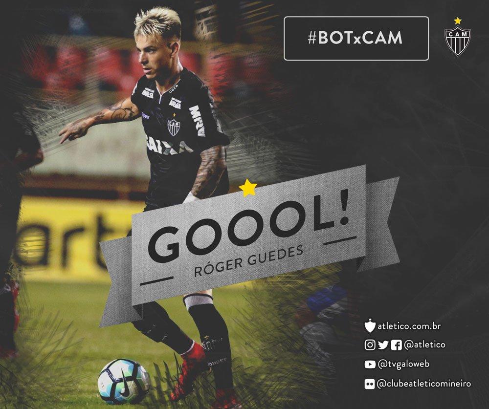 Róger Guedes abre o placar na Paraíba! Atlético 1 x 0 Botafogo-PB. Vamos, #Galo! #BOTxCAM