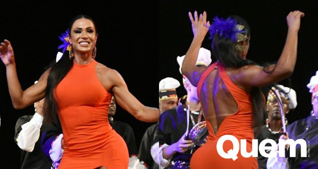 De vestidinho fendado, #GracyanneBarbosa samba muito em premiação de #Carnaval https://t.co/FweO0GYwP0