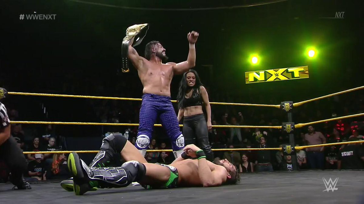 #NXTChampion @AndradeCienWWE has defeated @JohnnyGargano once again...  ...and #JohnnyWrestling must now LEAVE #WWENXT.