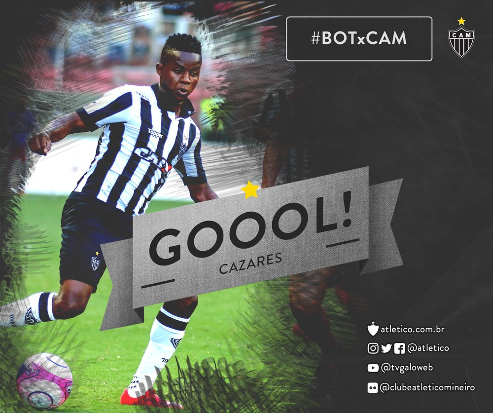 Cazares faz o segundo do Galo na Paraíba! Atlético 2 x 0 Botafogo-PB! Vamos, #Galo! #BOTxCAM