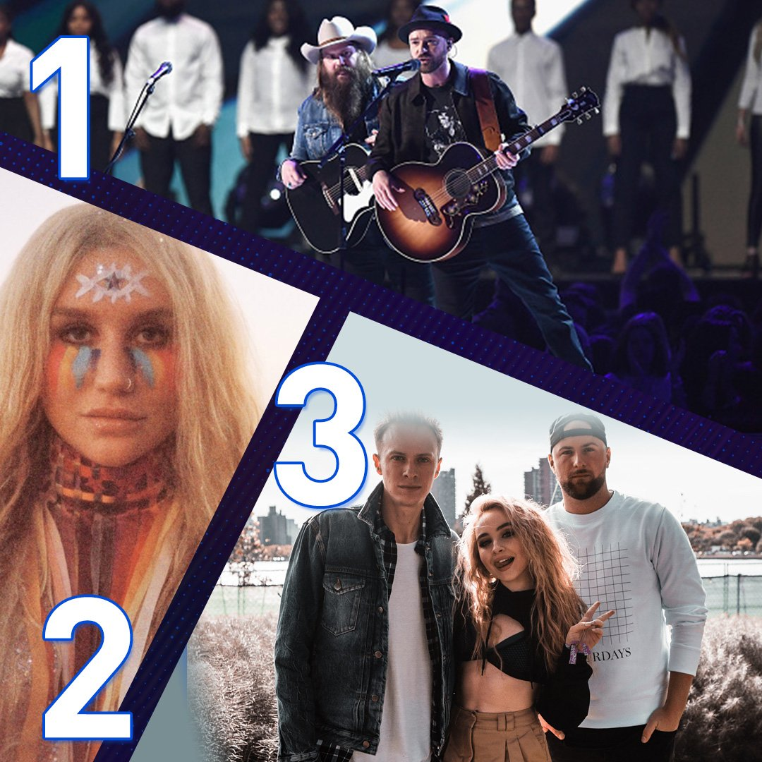 The biggest songs in NYC tonight!!! Here's what topped our @iHeartRadio 9at9 w/ @MaxwellsHouse!!!   🥉@wearelostkings + @SabrinaAnnLynn - First Love 🥈@KeshaRose - Praying 🥇@jtimberlake + @ChrisStapleton - Say Something  #MaxwellOnZ100 #ZTop3