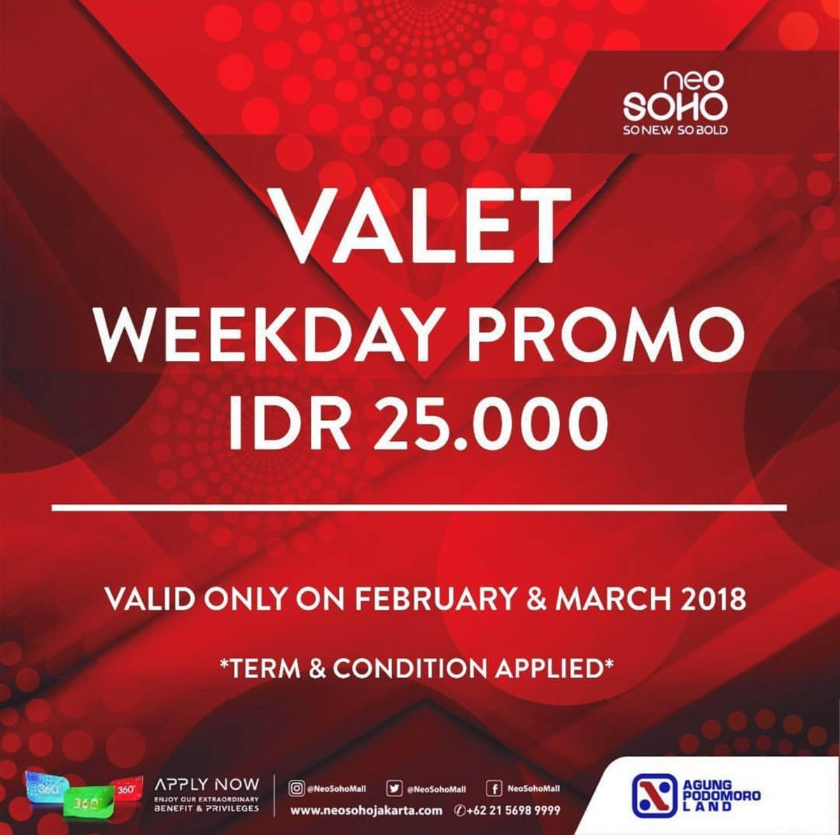 Central Park Mall On Twitter Valet Weekday Promo Idr 25 000 Valid Only On February March T C Apply Neosohomall
