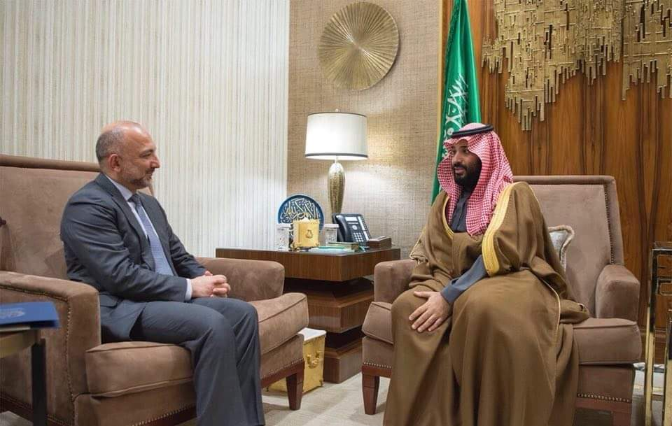 NSA MH Atmar and Saudi Crown Prince Mohammed bin Salman discussed important issues of mutual and regional interest including the support of Islamic Military Counter Terrorism Coalition (IMCTC) from Afghanistan in the fight against terrorism, and the Afghan Peace Process.(1)