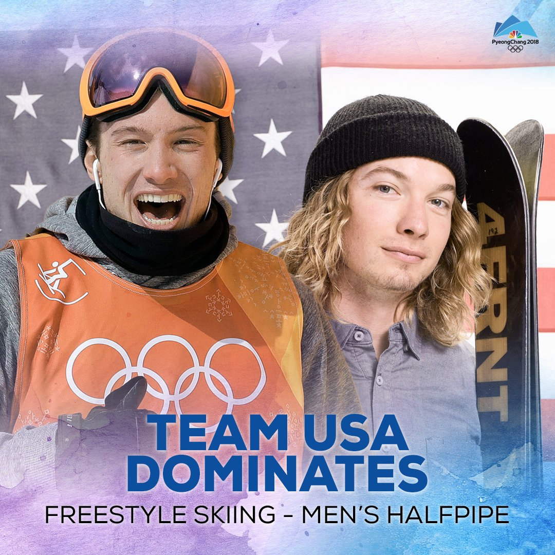 GOLD AND SILVER FOR U.S.A! Americans dominated the podium in the men's freeski halfpipe on Thursday, with David Wise winning gold and Alex Ferreira taking silver. #WinterOlympics https://t.co/jZNC1Fzz0K