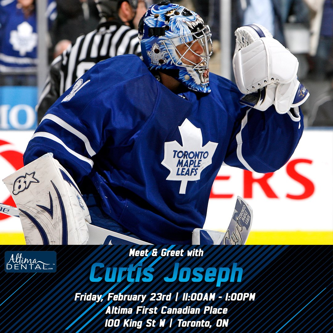 Toronto maple leafs on twitter mapleleafs alumni curtis joseph mapleleafs alumni curtis joseph will be signing between 1100am 100pm tomorrow at altimadental first canadian place tmltalkpicittermnr8bnihev m4hsunfo