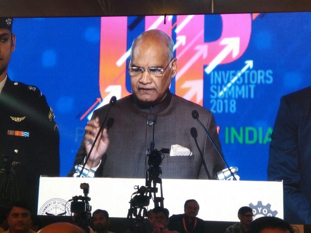 President #RamNathKovind addressing valedictory session at #UPInvestorsSummit in Lucknow  #AIRPics: Sushil