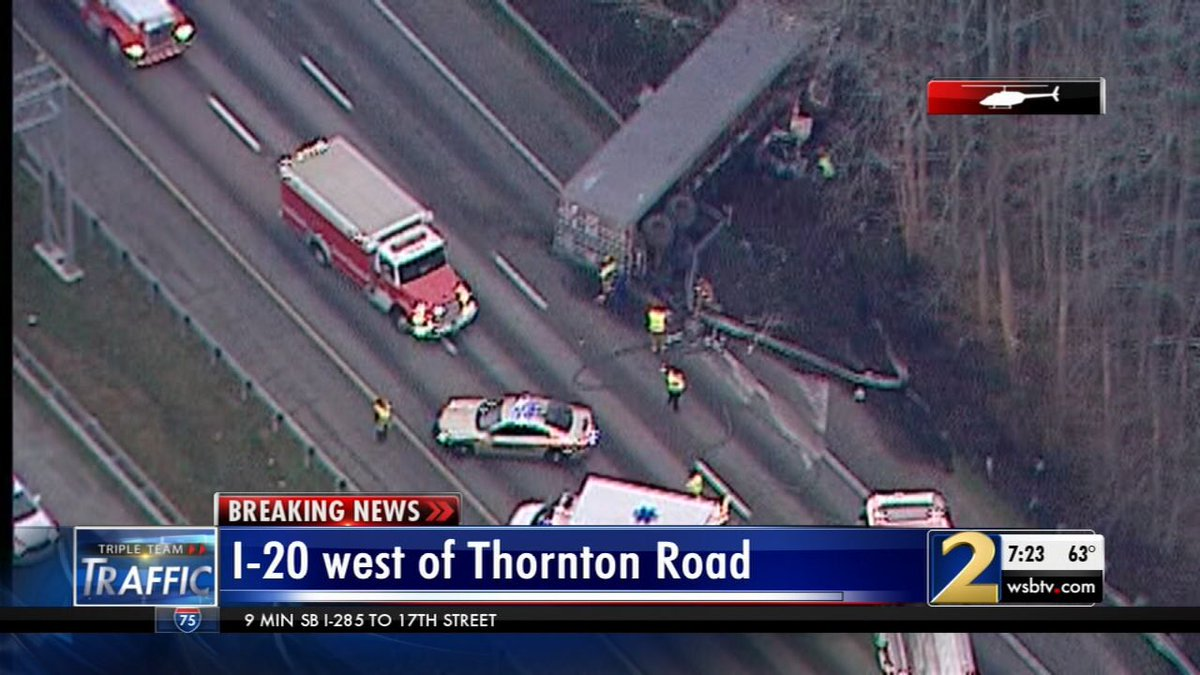 Huge delays on the west side! I-20/wb remains blocked past Thornton Road. Big backups on I-20/eb as well. #ATLtraffic #wsbtv