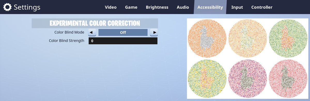 Fortnite Color Correction Fortnite News On Twitter Fortnite Has Added An Experimental Colour Correction In The Settings To Try And Aid Those Who Are Colour Blind Found In The Accessibility Tab Https T Co Tgcmlygws0