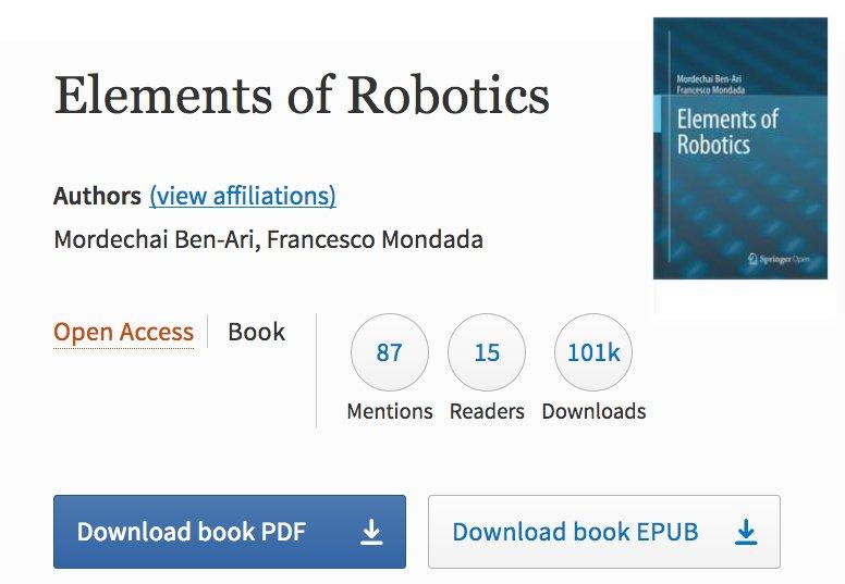 Francesco Mondada On Twitter Elementsofrobotics The Open Book