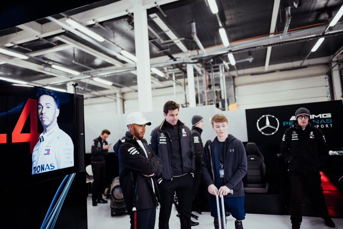 Lewis, Toto and Billy Monger get a first look at the W09