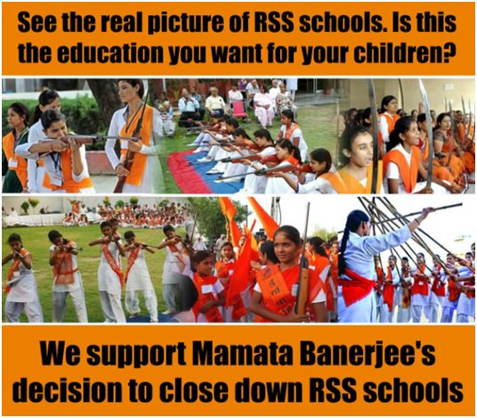 Mamata Banerjee government decides to shut down 125 RSS-affiliated schools in West Bengal. Kudos to @MamataOfficial , another brave move by Didi.   If this is education for them, then there is no place of such education in Bengal. #IsupportDidi #StandByMamataDidipic.twitter.com/uwBeL25BfS