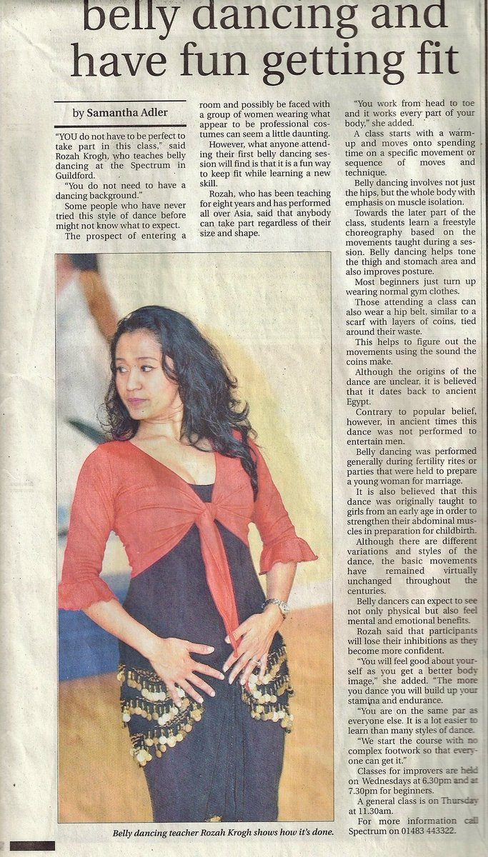 Massive #TBT to 11 yrs ago! Write up in a local Surrey paper from when I was teaching my Belly Goddess Dance In #GuildfordSpectrum Anyone knows where #SamanthaAdler is working now? #JournoRequest