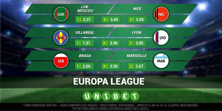 ⚽ LEuropa League, cétait pas hier ça commence dès 17h avec les 3 clubs français 🇫🇷 sur le pont. Vous êtes 67% à parier sur Marseille contre Braga !  Toutes les cotes ➡bit.ly/2or96Yz  #TeamParieur #SCBOM
