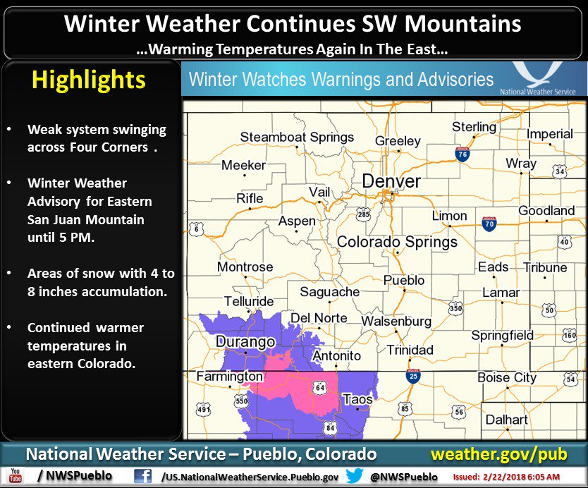 Winter Weather Advisory until 5 PM, Eastern San Juan Mountains. Light snow Thursday morning in southern and eastern CO. #cowx