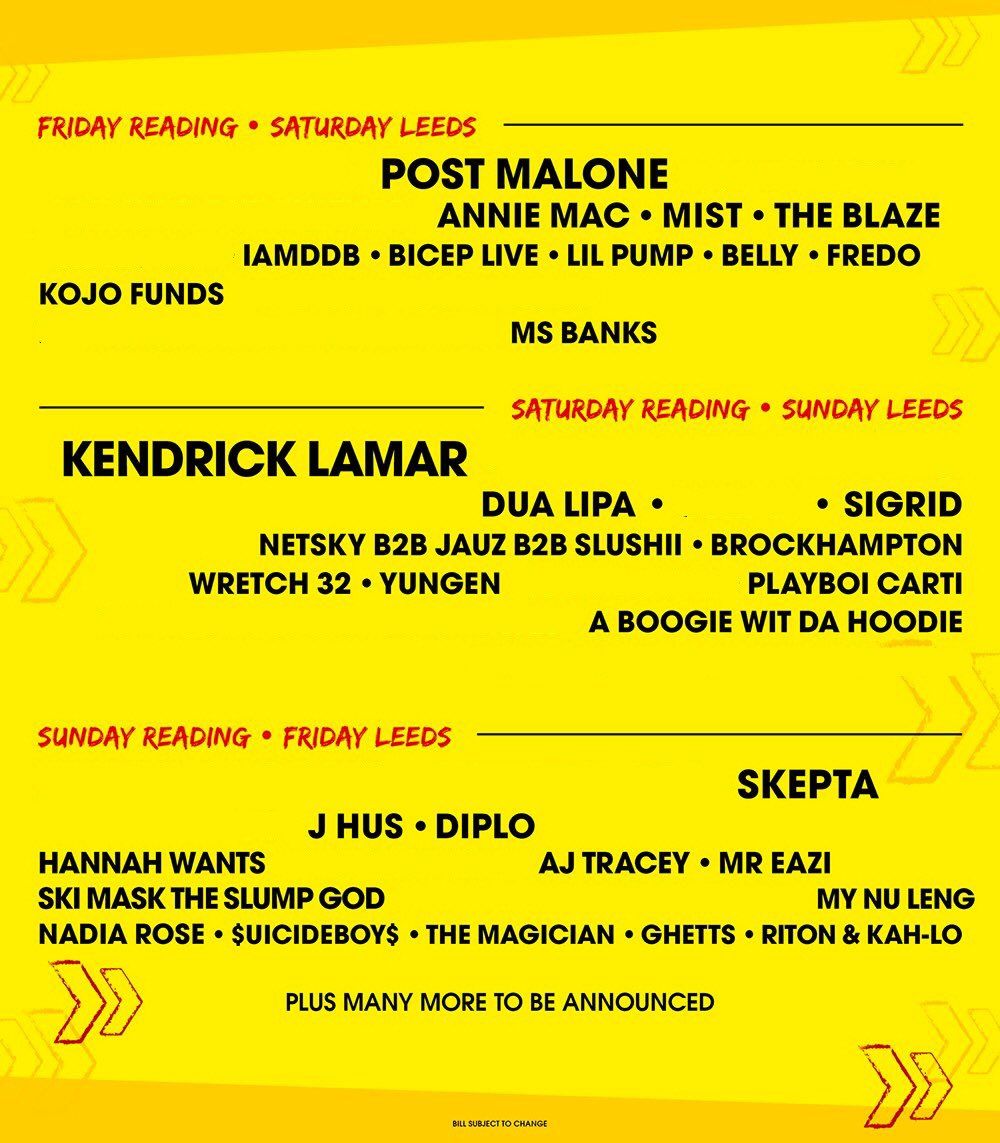 """Following on from our previous post, here is a year-on-year comparison of the """"non-guitar acts"""" playing Reading and Leeds Festival #RandL18"""