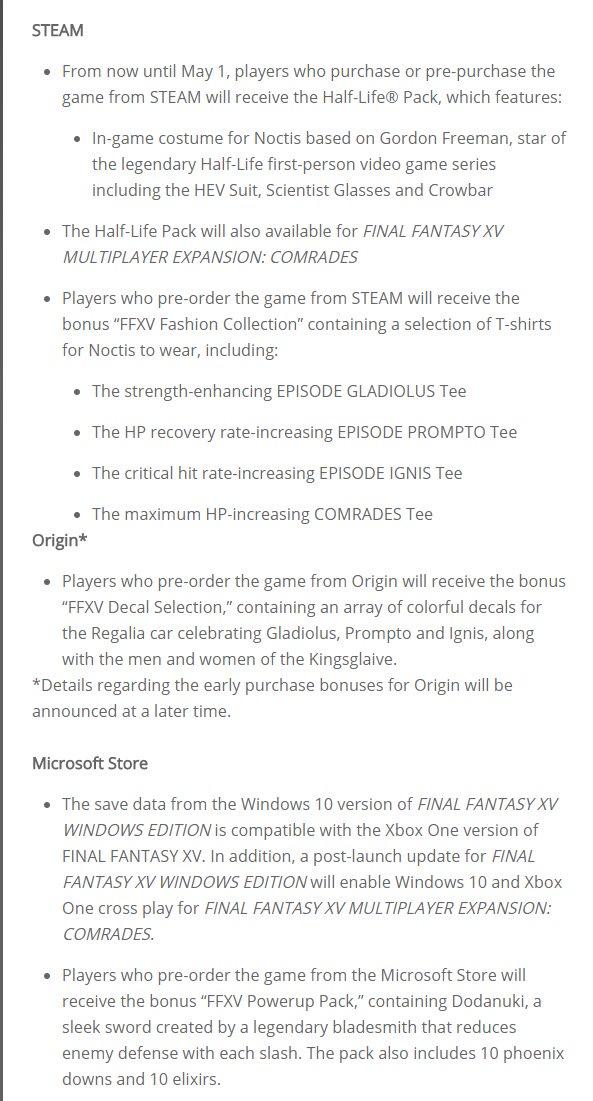 FFXV Windows Edition demo coming next week | ResetEra