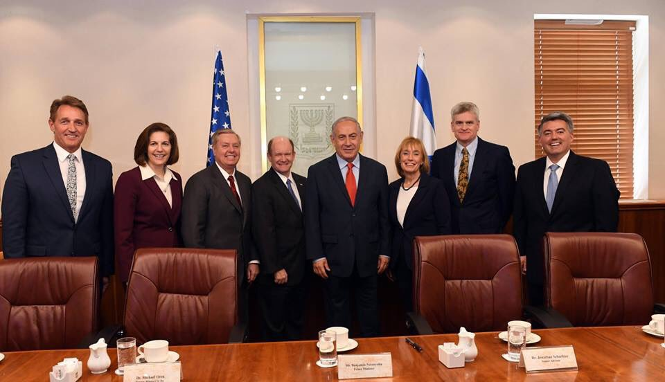 Today I met with a delegation of US senators led by @LindseyGrahamSC. I met earlier with a delegation from the House of Representatives. I thanked them for US support for Israel & welcomed President Trumps decision to implement the law recognizing Jerusalem as Israel's capital.