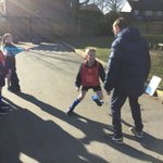 Year 4 enjoying football lessons delivered by Mr Cronin and funded by the FA (Football Association) #strike