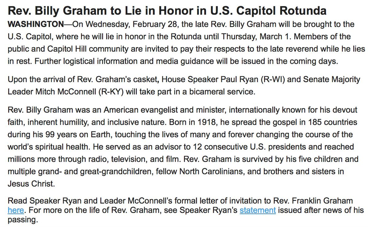 JUST IN: Rev. Billy Graham to lie in honor in U.S. Capitol Rotunda from February 28 to March 1, @SpeakerRyan announces. https://t.co/IjpAogGe7r