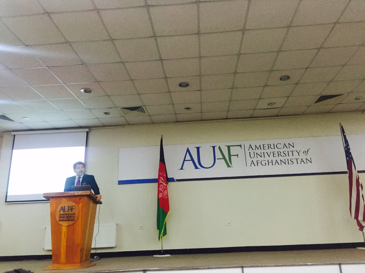 A very informative and inspirational speech about #Peace and Reconciliation by the deputy foreign minister @HekmatKarzai at @AUAfghanistan.