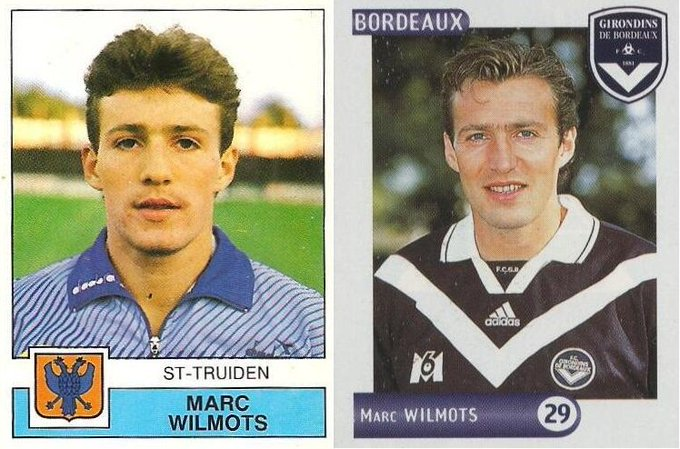 Happy Birthday to Marc WILMOTS.  His first sticker with St-Truiden (1987-88) & Girondins de Bordeaux 2000-01