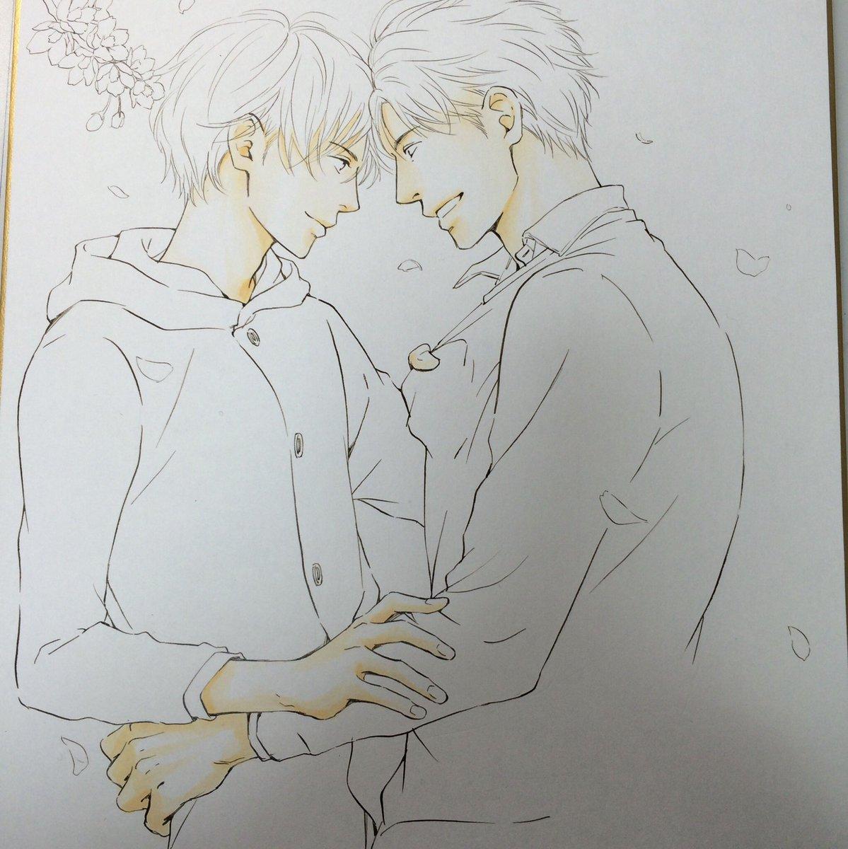 読者プレゼント用の色紙でした。下絵描いて、裏を鉛筆で塗って転写して下書きします。(色紙に直接下描きできない‥‥)