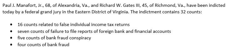 JUST IN: Special counsel announces new charges against Paul Manafort and Richard Gates. The indictment contains 32 counts