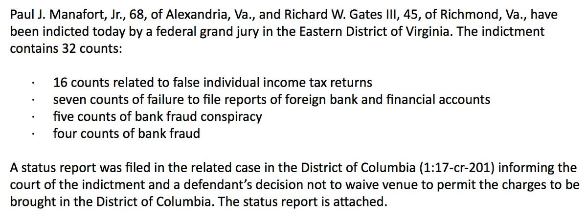 BREAKING: Special counsel files new charges against former Trump campaign officials Paul Manafort and Richard Gates; charges include false individual income tax returns, failure to report foreign bank accounts and bank fraud. https://t.co/N4gU2n2FYw