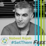 #Bahrain: We are appalled to see @NABEELRAJAB has been sentenced to 5 additional years for tweets critical of Bahrain and Saudi Arabia. He has been hospitalized several times during his current two year prison sentence. Read more on him here: https://t.co/olPIYqpsSC  #SetThemFree