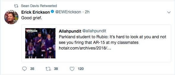 Erick Erickson, who called Justice Souter a 'goat fucking child molester,' is upset that a school shooting victim wasn't gentle enough with Marco Rubio.