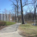 Flood of 2018. Right near an apparent crest around 10.3 feet above flood stage on the Red Cedar River. Temporary barriers around the Computer Center and Admin Buildings thankfully still high and dry!