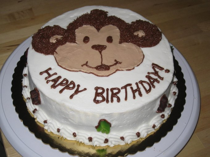 Happy Birthday you can touch the monkey.  Touch him, love him!