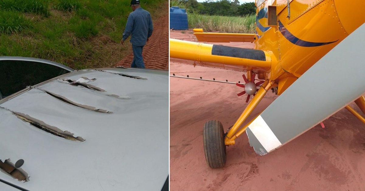 Avião agrícola faz rasante sobre carro e 'rasga' lataria https://t.co/fAWN0vXSpO #G1