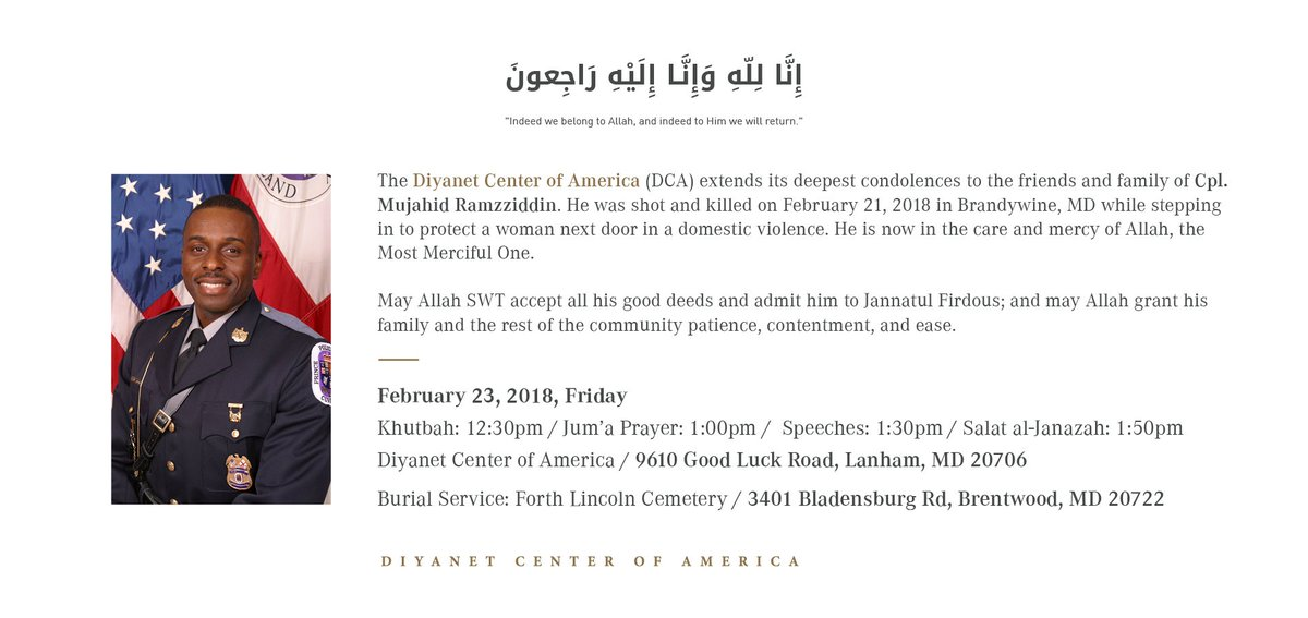 Feb 23, 2018, Friday Program Schedule at @DiyanetAmerica : Khutbah: 12:30pm Jum'a Prayer: 1:00pm Speeches: 1:30pm Salat al-Janazah(Funeral Prayer): ...