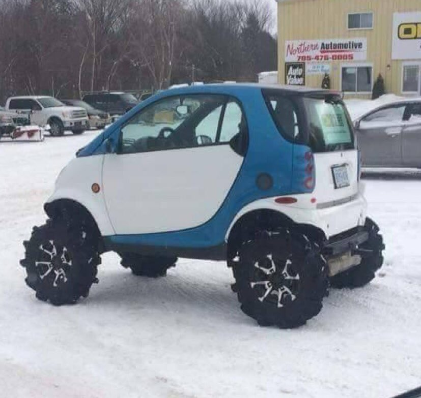 Michael Lee On Twitter Go Big Or Home What Forreal Bigtires Littlecar Backwoodslife Lifted Offroad Smartcar