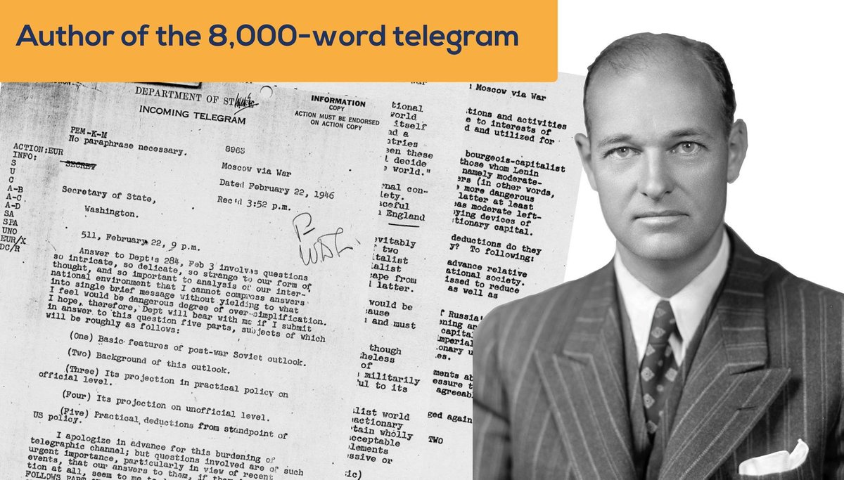 #OTD in 1946, George Kennan sent the long telegram. Kennan, then the most senior diplomat at U.S. Embassy Moscow, sent @StateDept a record 8,000-word telegram detailing his views on the aggressive nature of Stalin's foreign policy. #DiscoverDiplomacy goo.gl/4VKszC