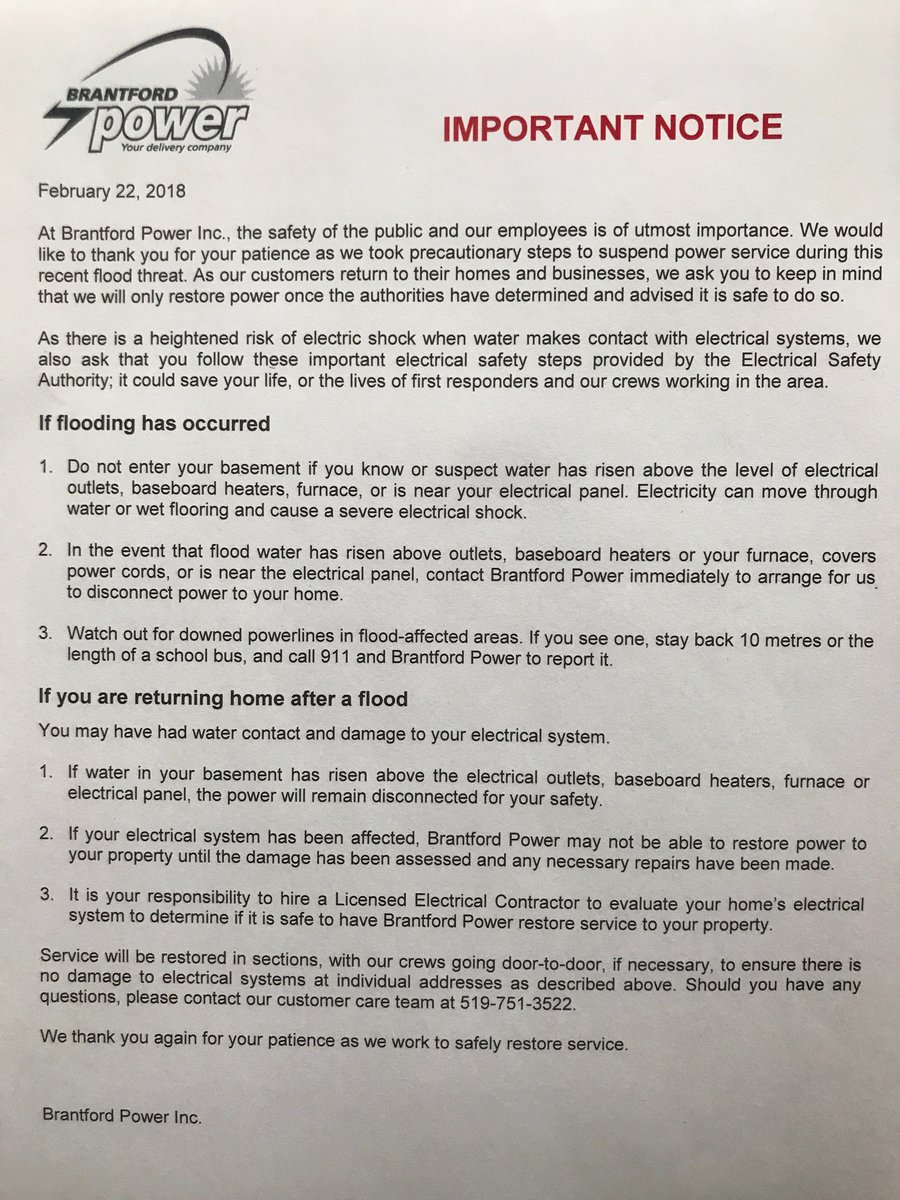Brantford Power On Twitter Is Delivering The Step Three Licensed Electrician Can Make Following Notice To Our Customers Impacted By Outage Please Stay Safe
