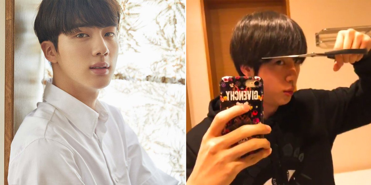 .@BTS_twt's JIN just cut his OWN bangs — and did a surprisingly good job 😱  https://t.co/QsET06M9dM