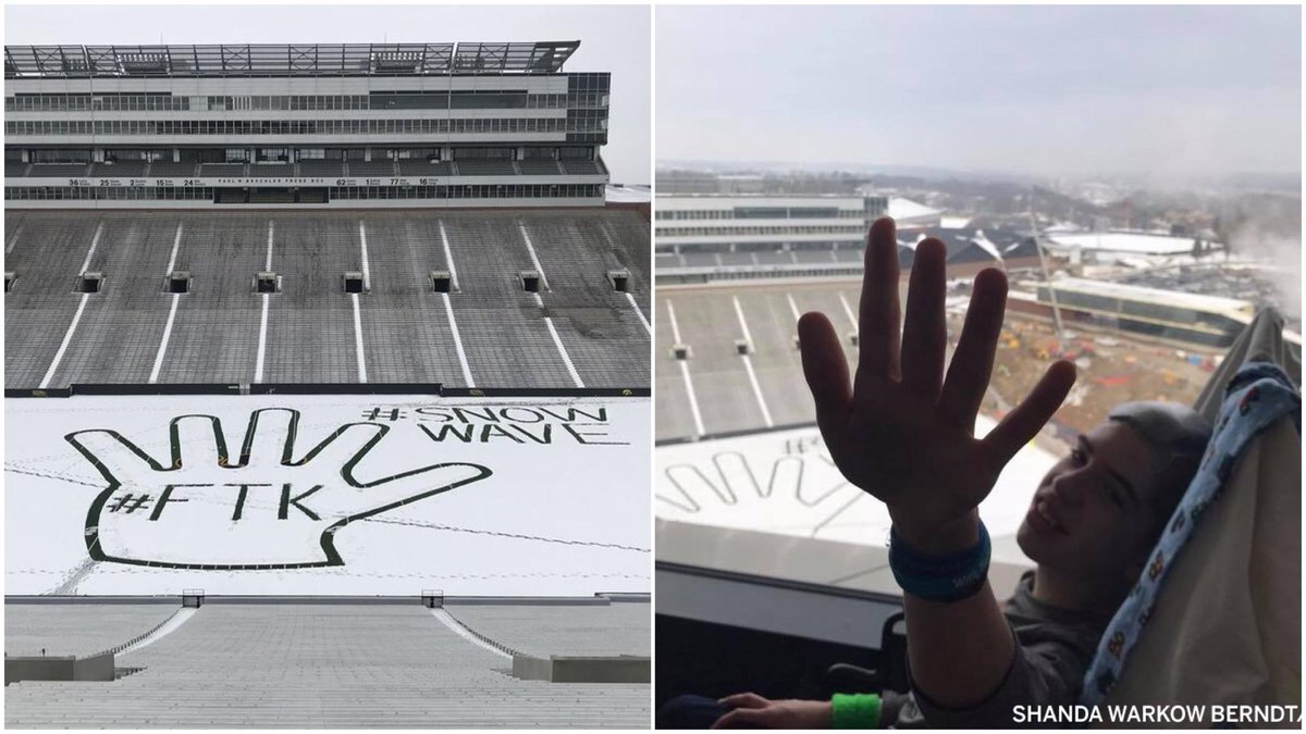 Despite snow and no fans, stadium workers found a way to keep the wave tradition alive and cheer up the kids at Iowa Children's Hospital.  Logan Berndt's mom said it 'made his day.'