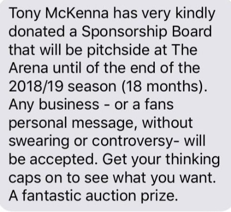 test Twitter Media - One of the items up for auction at next Saturdays dinner has been kindly donated by former Burgh legend Tony McKenna. You can have your name, business or message displayed at Olivebank for this and next season. If anyone has anything they can donate, please get in touch. https://t.co/sjUE2yXjUT