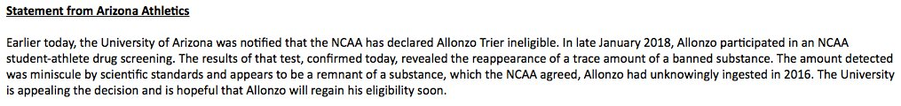 NCAA has ruled Allonzo Trier ineligible.