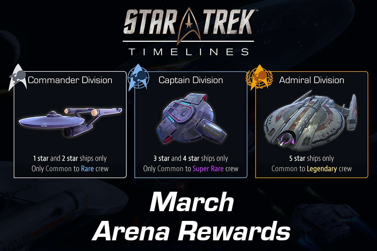 ... The Following New Arena Rewards Will Go Live On 03/01/18: Commander  Division: Constitution Class Ship 3* Schematics Captain Division: U.S.S.  Defiant 4* ...