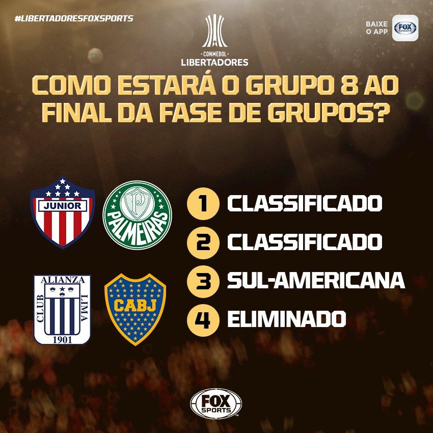 🇧🇷🇦🇷🇨🇴🇵🇪 GRUPO ENJOADO! O @SEPalmeiras não vai ter vida mole n#LibertadoresFOXSportsa ! Você já consegue arriscar qual será a classificação final do grupo 8?