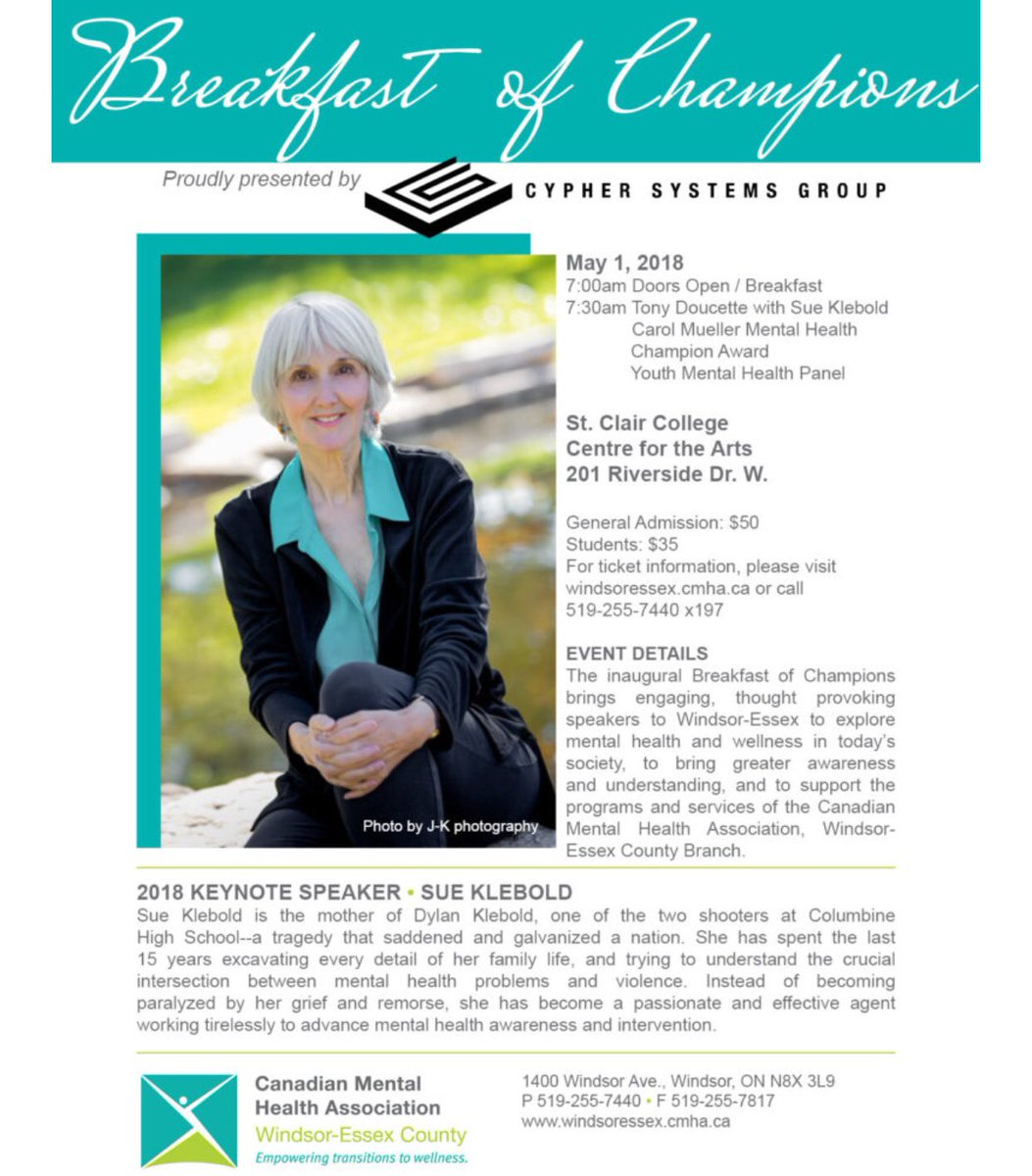 test Twitter Media - Purchase your tickets for the inaugural #breakfastofchampions featuring keynote speaker Sue Klebold. The mother of Dylan Klebold, one of the two shooters at Columbine High School in 1999. she has become a passionate and effective agent working to advance mental health awareness. https://t.co/Qwls6kjaIV